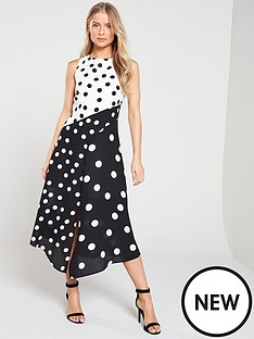 wallis-polka-dot-asymmetric-spot-skater-dress-mono