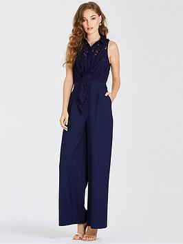 Little Mistress Little Mistress Lace Top Belted Jumpsuit - Navy Picture