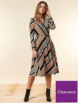 wallis-petite-stripe-wrap-dress