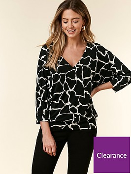 wallis-wallis-petite-giraffe-print-ruche-side-top