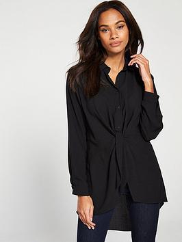 wallis-tie-front-shirt-black