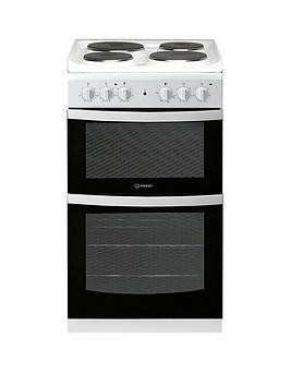 indesit-id5e92kmw-50cm-electric-solid-platetwin-cavity-single-oven-cooker-white