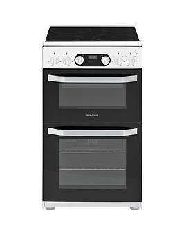 Hotpoint   Hd5V93Ccw 50Cm Wide Electric Double Oven Cooker - White