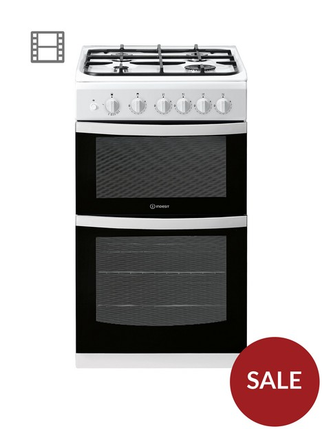 indesit-id5g00kmw-50cm-widenbsptwin-cavity-single-oven-gasnbspcooker-white