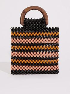warehouse-wood-handle-stripe-beaded-bag