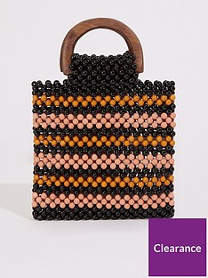 warehouse-wood-handle-stripe-beaded-bag
