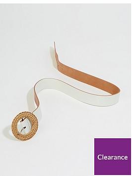 warehouse-raffia-buckle-belt-white