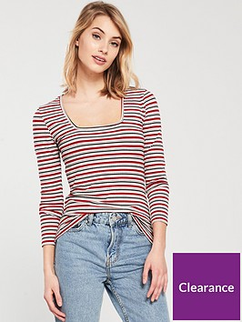v-by-very-stripped-square-neck-top