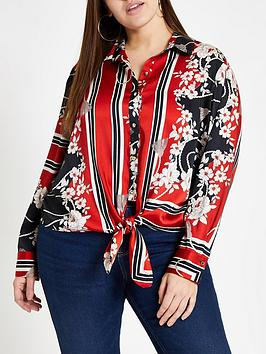 ri-plus-printed-tie-front-shirt-red