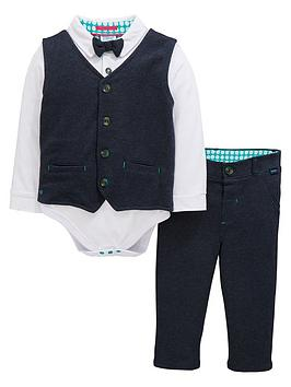79c4caf1a Baker by Ted Baker Baby Boys 3 Piece Smart Woven Suit Set - Navy ...