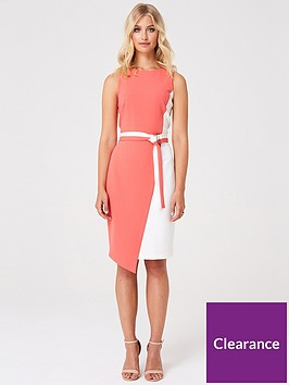 paper-dolls-contrasting-colour-tie-waist-bodycon-dress-multi