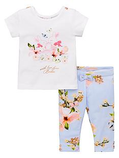 a15a2a48399c Baker by Ted Baker Baby Girls Pleat Back T-shirt And Legging Set - Light  Blue