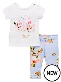 0e71448bff8b Baker by Ted Baker Baby Girls Pleat Back T-shirt And Legging Set - Light  Blue