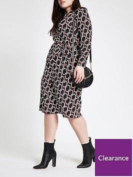 ri-plus-geo-print-wrap-dress-multi