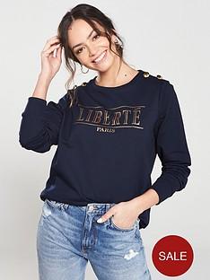 river-island-river-island-button-detail-sweatshirt-navy