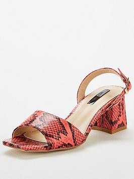 Lost Ink Lost Ink Riva Square Mid Flared Heeled Sandals - Coral Picture
