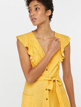 1e05edcc69e56 Monsoon Araceli Print Midi Ruffle Dress - Yellow | littlewoods.com