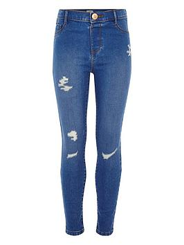 River Island River Island Girls Molly Distressed Mid Rise Jegging - Blue Picture