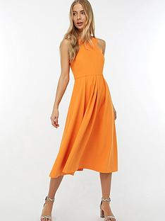 monsoon-patricia-plain-midi-dress-orange