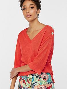 monsoon-corina-linen-blend-button-detail-jumper-ndash-coral-pink