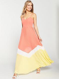 v-by-very-pleated-colour-block-maxi-dress-coralyellownbsp
