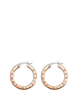 Tommy Hilfiger Tommy Hilfiger Rose Gold Crystal Set Ladies Hoop Earrings Picture