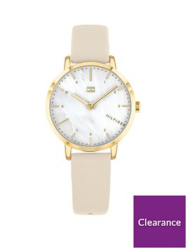 tommy-hilfiger-tommy-hilfiger-lily-mother-of-pearl-and-gold-detail-dial-nude-leather-strap-ladies-watch