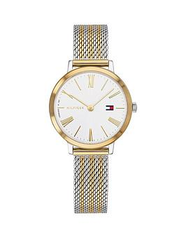 tommy-hilfiger-tommy-hilfiger-project-z-white-and-gold-dial-two-tone-stainless-steel-mesh-strap-ladies-watch