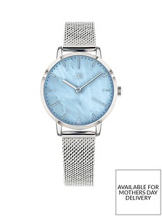 tommy-hilfiger-tommy-hilfiger-lily-blue-mother-of-pearl-dial-stainless-steel-mesh-strap-ladies-watch