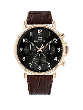tommy-hilfiger-tommy-hilfiger-daniel-black-and-carnation-gold-chronograph-dial-brown-croc-leather-strap-mens-watch