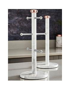 tower-marble-rose-gold-edition-kitchen-towel-pole-and-mug-tree-set