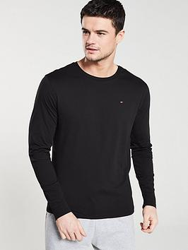 tommy-hilfiger-long-sleeved-logo-lounge-t-shirt-black