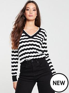 v-by-very-v-neck-zigzag-stripe-pattern-jumper-black-white
