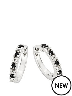 614fdb89a Love GEM 9ct White Gold Black Sapphire & 11 Point Diamond Huggie Hoop  Earrings