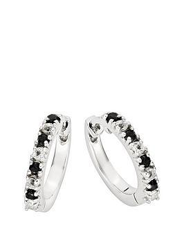 765ec97a4 Love GEM 9ct White Gold Black Sapphire & 11 Point Diamond Huggie Hoop  Earrings
