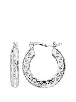 684cc3e88 Evoke Sterling Silver Swarovski Crystal Filigree Heart Hoop Creole Earrings