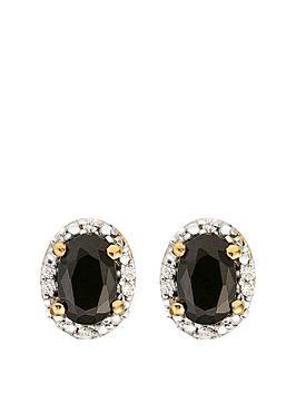 Love GEM Love Gem 9Ct Gold Black Sapphire And Diamond Set Stud Earrings Picture