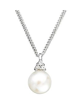 Love PEARL Love Pearl 9Ct White Gold Freshwater Pearl Diamond Set Pendant  ... Picture