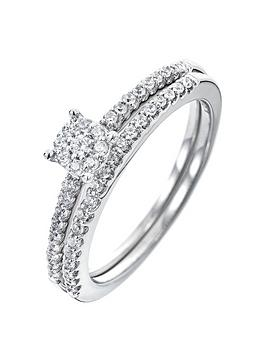 love-diamond-9ct-white-gold-24-point-diamond-cluster-bridal-set