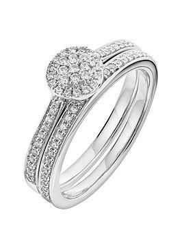 Love DIAMOND Love Diamond 9Ct White Gold 29 Point Diamond Cluster Bridal  ... Picture