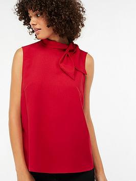 monsoon-tori-tie-neck-sleeveless-blouse-red