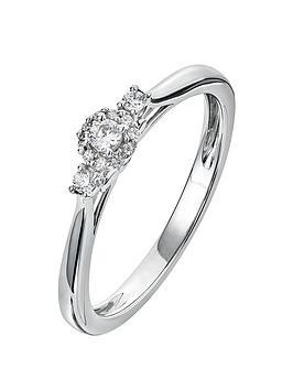 Love DIAMOND Love Diamond 9Ct White Gold 11 Point Diamond Trilogy Ring Picture