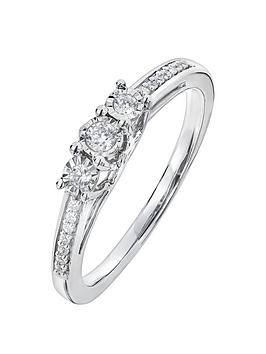 Love DIAMOND Love Diamond 9Ct White Gold 16 Point Diamond Trilogy Ring  ... Picture