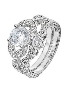 the-love-silver-collection-sterling-silver-cubic-zirconia-vintage-style-leaf-ring-set