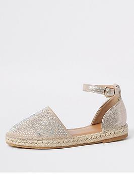 e0c1266a614e River Island Girls embellished espadrille sandals - gold ...