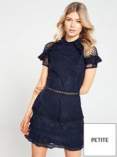 ax-paris-petite-crochet-lace-tier-dress-navy