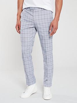 river-island-blue-check-skinny-suit-trousers