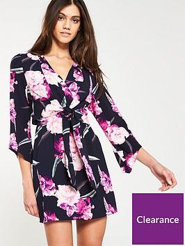 ax-paris-knot-front-printed-dress-navy