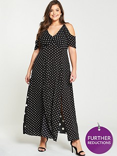 ax-paris-curve-spot-split-side-maxi-dress-black-white