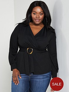 fef10d84869 V by Very Curve Wrap Peplum Belted Crepe Top - Black